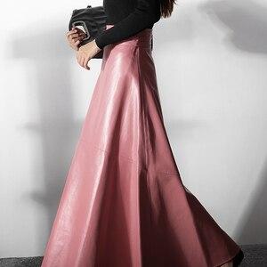 Image 4 - Mulheres elegante escritório rosa saia de couro 2020 moda alta cintura feminina inverno pu saias longas rua casual uma linha preto outono