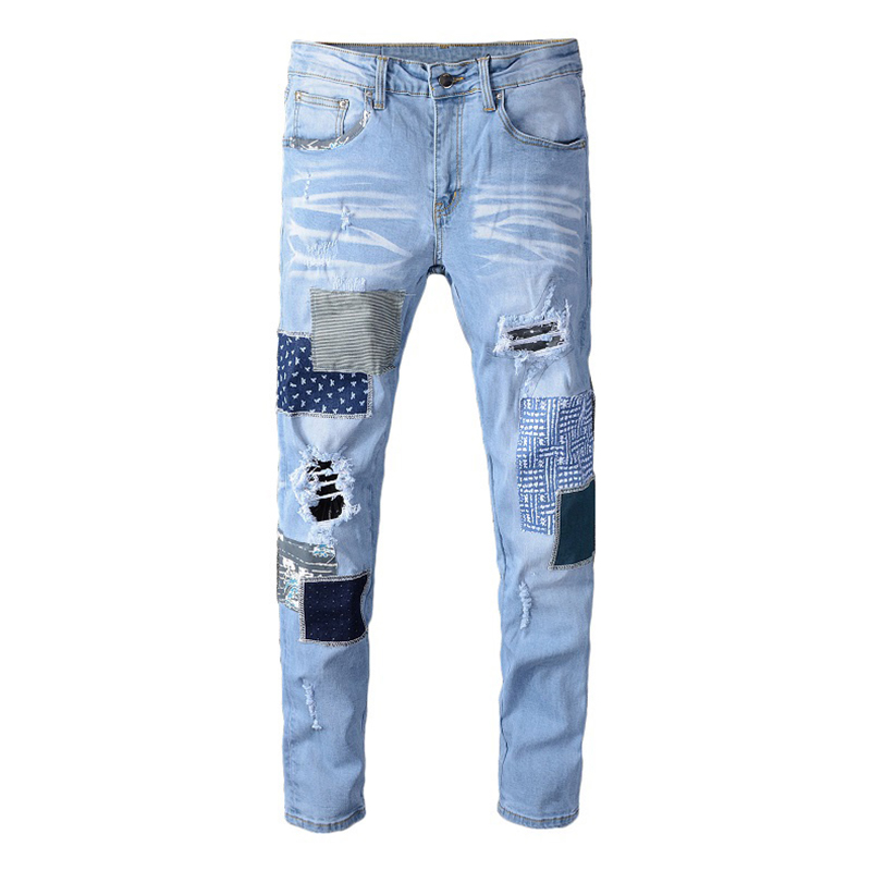 Sokotoo Men's Patchwork Ripped Jeans Light Blue Holes Stretch Denim Pants Patch Design Trousers High Quality