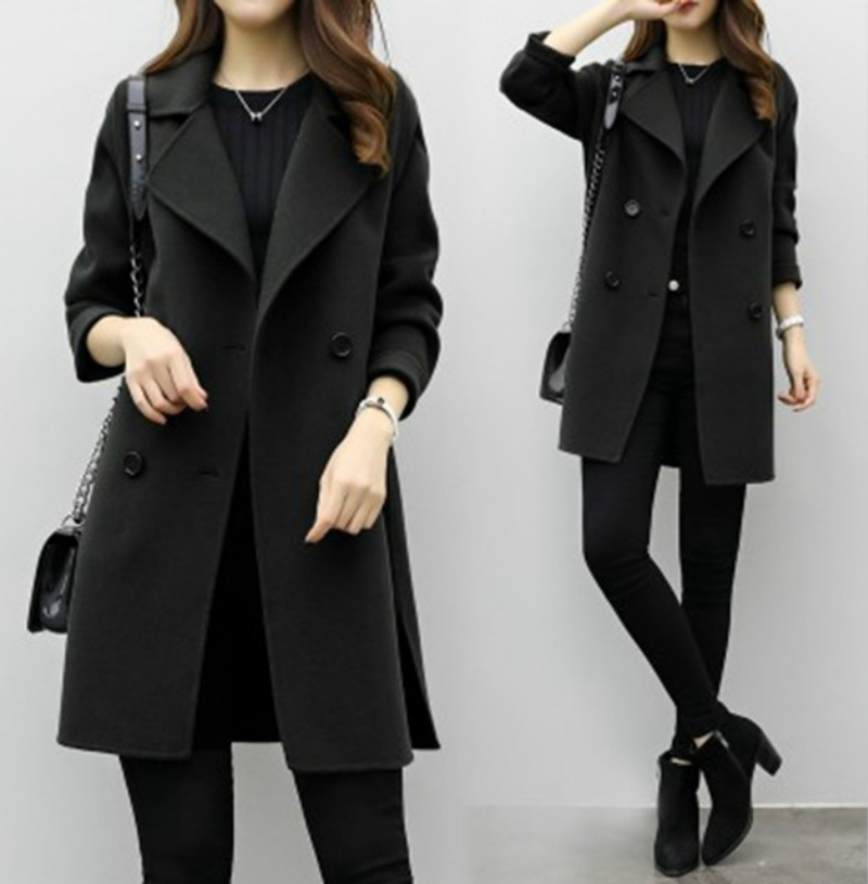 Women Woolen Coat 2019 Autumn Winter New Double-breasted Long Sleeve Loose Coats Turn-Down Collar Outwear Plus Size CA3107 2