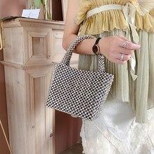 Плетеная Серебряная жемчужная сумочка, расшитая бисером Искусство и ремесла Леди тоут блестящие Элегантные Роскошные театральные сумочки для ужина вечерние банкетные Свадебные
