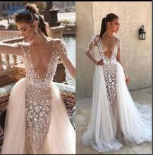 100% Real Photos Luxury Wedding Dresses Court Train Flowers Mermaid Cap full Sleeve Wedding Dress 2019 Vestido XF16040 CT
