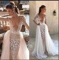 100% fotos reais vestidos de casamento luxo tribunal trem flores sereia boné manga cheia vestido de casamento 2019 vestido XF16040-CT
