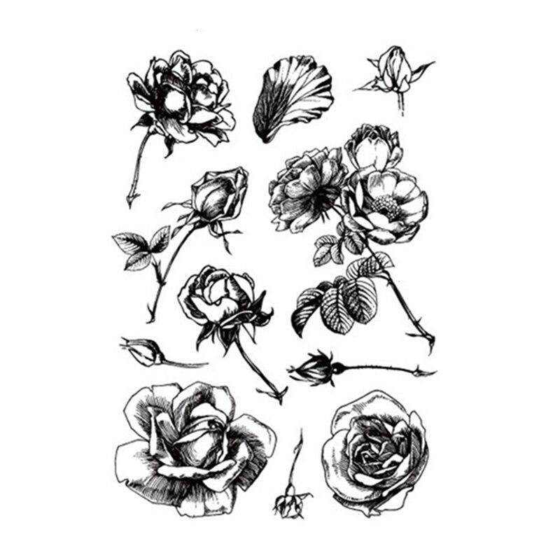 Claro Selo para DIY Scrapbooking Cartão Do Vintage Blooming Flower Decoração Fazendo Artesanato Álbum de Selos de Silicone Transparente