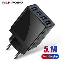 Ricarica rapida 4 USB US EU UK caricabatterie universale per cellulare caricabatterie da parete 5V 5.1A adattatore per ricarica rapida per iPhone Samsung Xiaomi