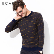 все цены на UCAK Brand Sweater Men 100% Merino Wool Pullover Men Fashion Striped Pull Homme Autumn Winter Thick Warm Cashmere Sweaters U3066 онлайн