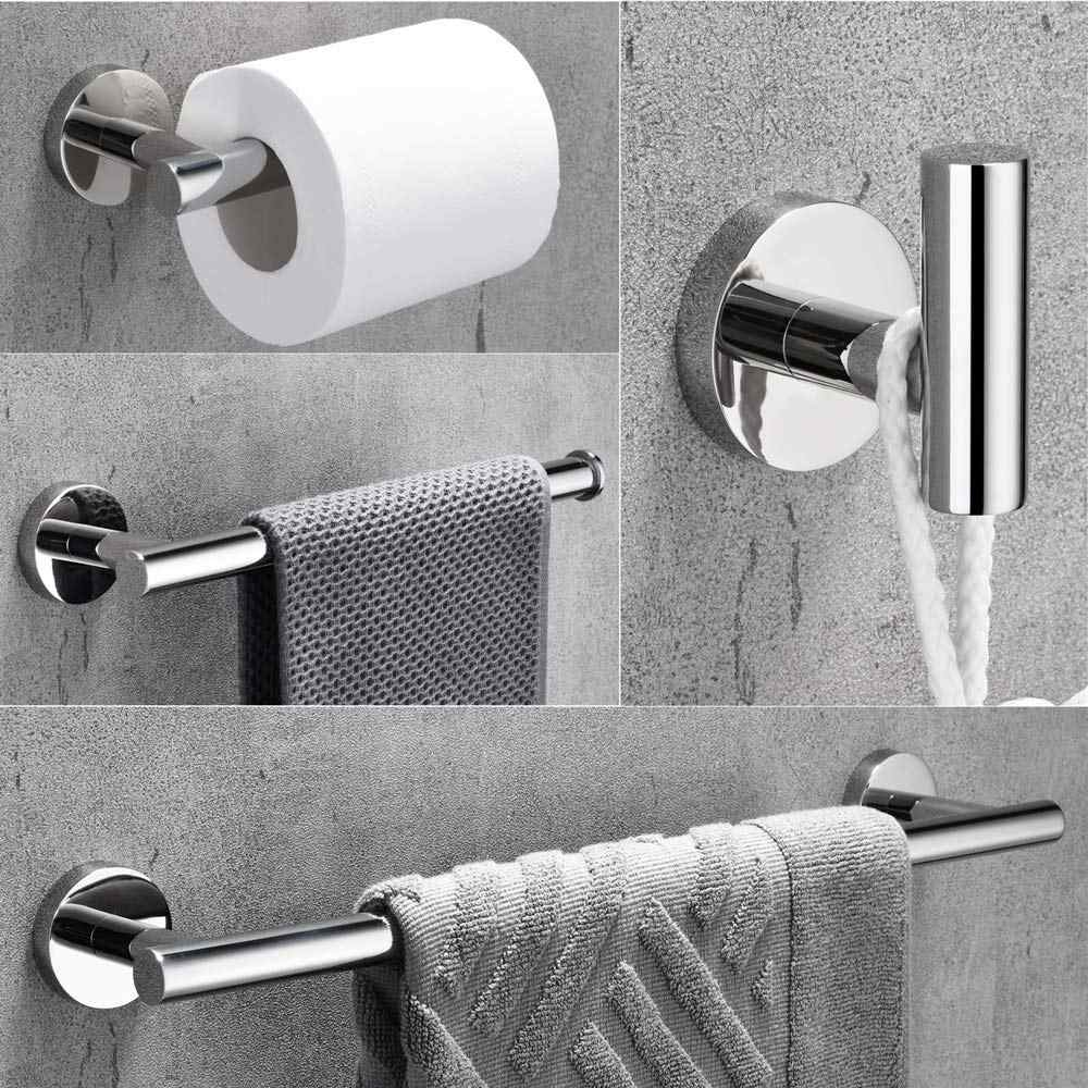 Towel Bar Set Chrome Polish, Modern Bathroom Accessories Set Silver  Hardware, 4 PCS Bath Towel Rack Set with Toilet Paper Holder