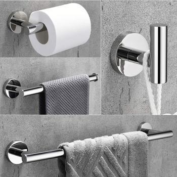 Towel Bar Set Chrome Polish, Modern Bathroom Accessories Set Silver Hardware, 4 PCS Bath Towel Rack Set with Toilet Paper Holder