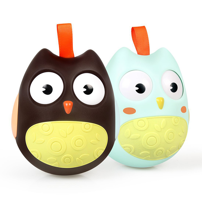 Cute Baby Toys Nodding Moving Eyes Owl Doll ABS Baby Rattles Gifts Baby Roly-poly Tumbler Toy With Bell Toys For Children
