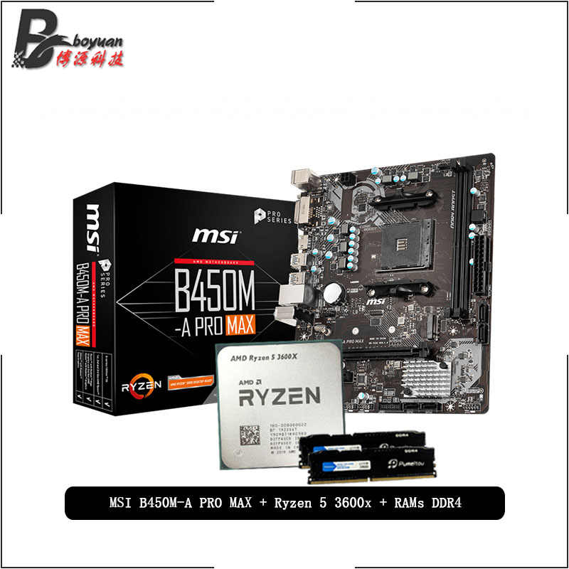 AMD Ryzen 5 R5 3600X CPU + MSI B450M A PRO MAX Motherboard + Pumeitou DDR4 8G 16G 2666MHz RAMs Suit  Socket AM4 Without cooler
