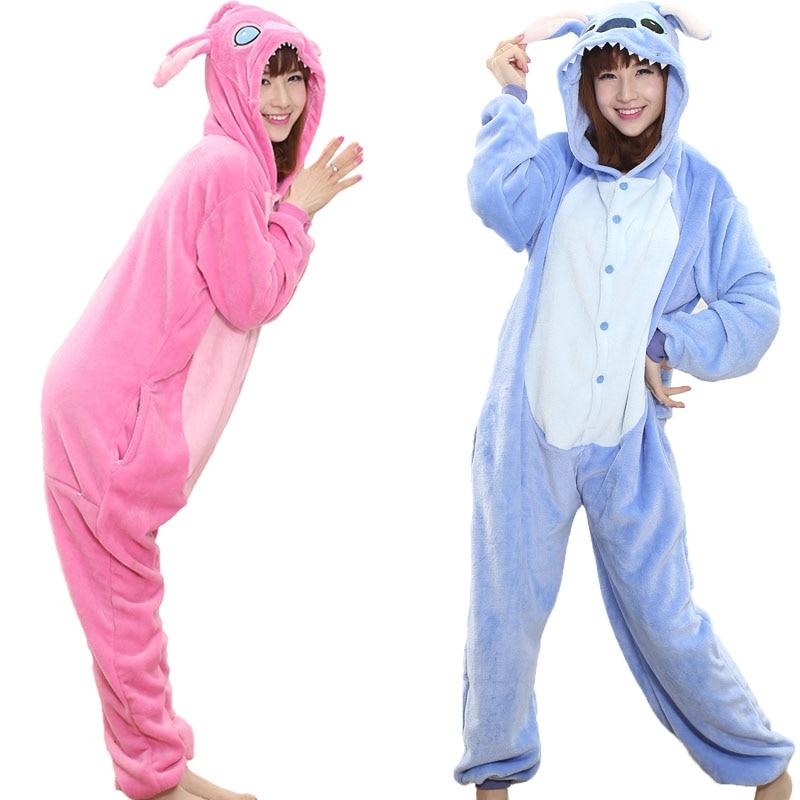 Animal Stitch Kigurumi Onesie Adult Teenagers Women Pajamas Funny Flannel Warm Soft Overall Onepiece Night Home Jumpsuit