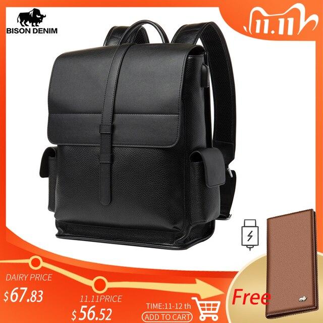 BISON DENIM Genuine Leather 14 inches Backpack Mens Travel Bag Waterproof Daypack USB Charging School Backpack N2645