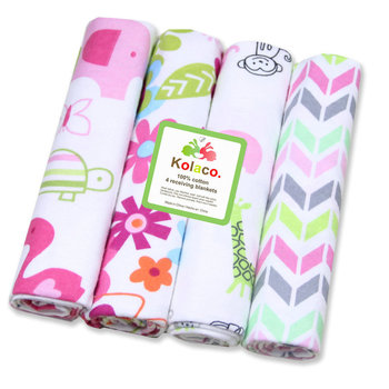 4Pcs/Lot Muslin 100% Cotton Flannel Baby Swaddles Soft Newborns Blankets Infant Blankets Newborn Muslin Diapers Kid Swaddle Wrap professional10x20ft muslin 100
