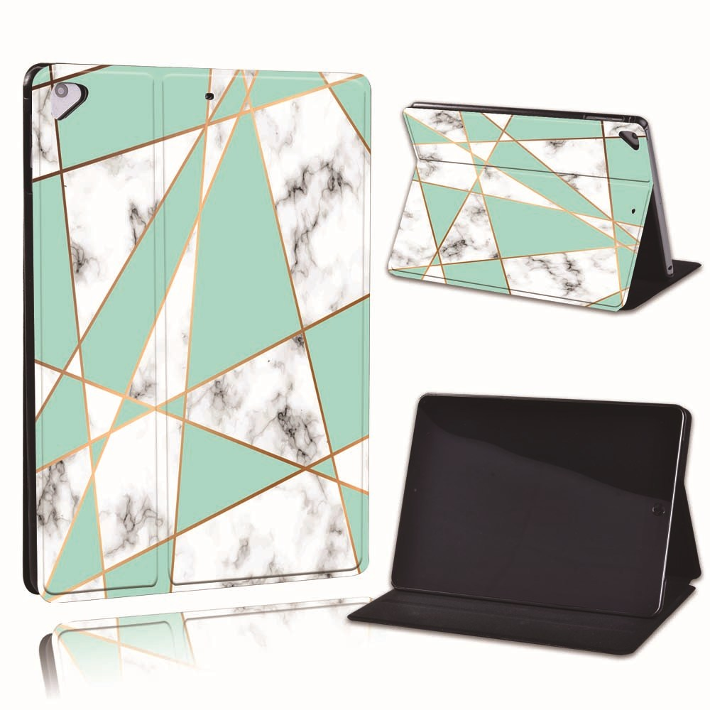 20.green triangle on Palegoldenrod For Apple iPad 8 10 2 2020 8th 8 Generation A2428 A2429 Slim Printed Geometry PU