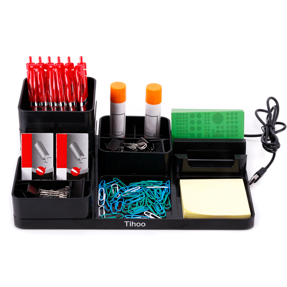 tenwin-black-multifunction-stand-stationery-organizers-pen-storage-office-supplies-box-with-drawer-pen-holder-desk-accessories