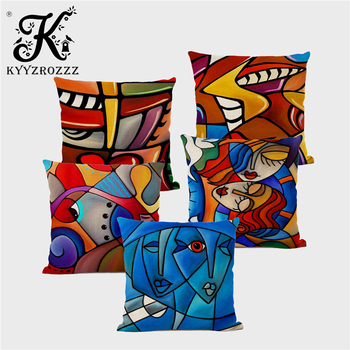 Picasso-style Abstract Art Cushion Cover Geometric Abstract Oil Painting Contorted Figure Creative Sofa Decorative Pillowcase image