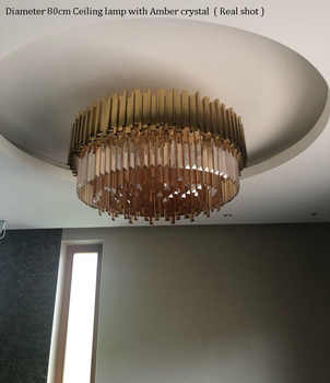 Phube Lighting Gold Crystal Ceiling Light Luxury Modern Bedroom LED Lustres De Cristal Home Indoor Lighting Fixtures