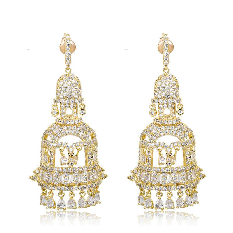 Dazz haute qualité luxe coloré Zircon cloche boucles d'oreilles mariée africaine Banquet mariage dames robe or couleur accessoires
