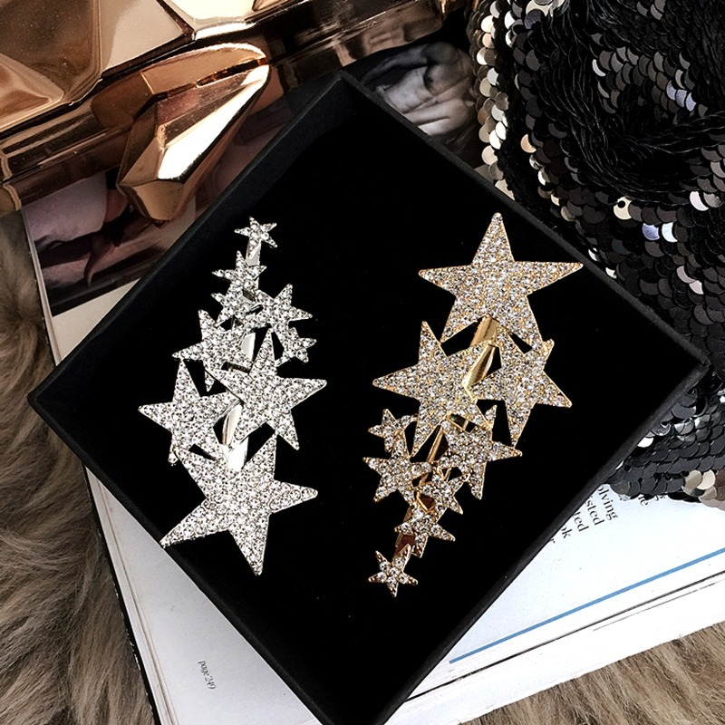 2020 New Shiny Star Barrettes Rhinestone Hairpins Hair Clip Sweet Headwear Hair Grip Hair Accessories For Women Girl Wedding