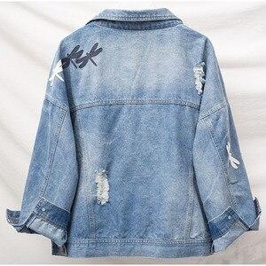 Image 3 - בתוספת גודל רופפת החבר Ripped רקמת נשים ינס מעילים 3Xl 4Xl 5Xl אביב Streetwear מעיל ילדה