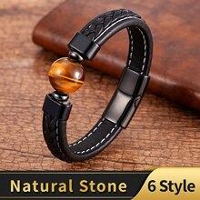 Moda pulseiras de couro genuíno dos homens de aço inoxidável fecho charme pulseira para o sexo masculino 6 estilo natural tigre olho lava pedra jóias