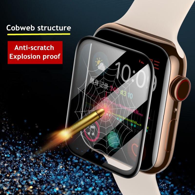 Защита экрана для Apple Watch band 44 мм 40 мм 42 мм/38 мм, мягкая пленка для iwatch, аксессуары для часов apple watch series 5 4 3 se 6