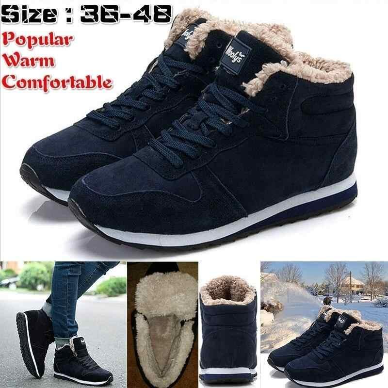גברים מגפי גברים של נעלי חורף אופנה שלג מגפי נעליים בתוספת גודל חורף סניקרס קרסול גברים נעלי חורף מגפיים שחור כחול הנעלה