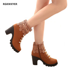 RGKWXYER New Women Boots Autumn Winter Warm Shoes Sexy High Heels Non-slip Ankle Fashion Lace lace Martin 2019