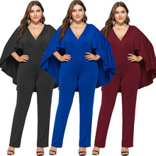 High quality and comfortable 3XL solid color sexy womens European American loose bat sleeve V-neck jumpsuit bodysuit