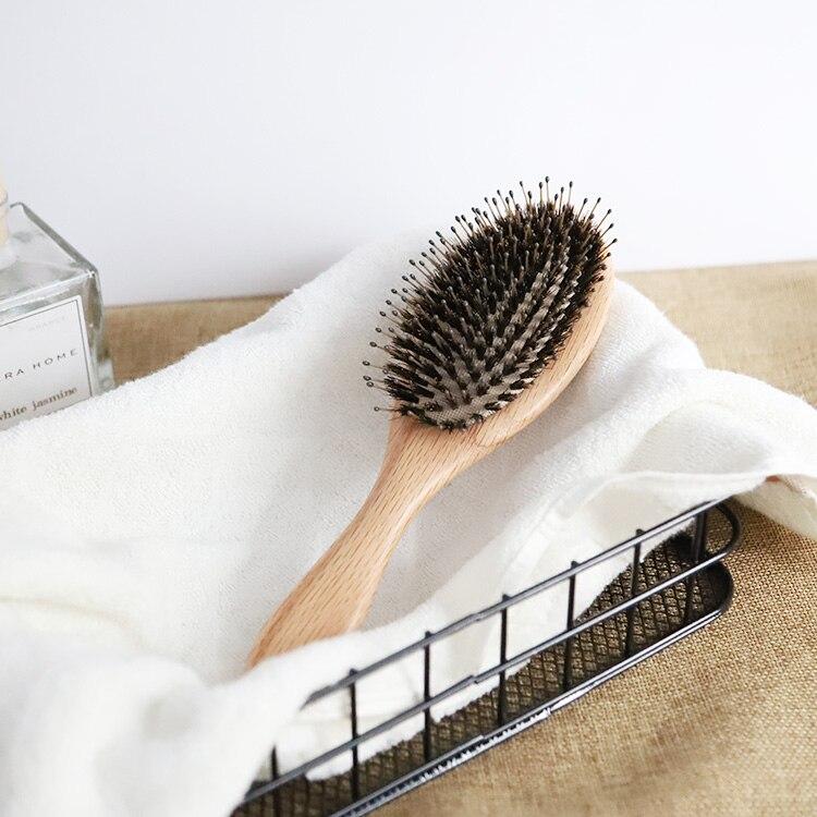 Brosse professionnelle en bois de chêne américain, 1 pièce, brosse à airbag pour extension de cheveux, poils de sanglier en silicone, lissage rapide des cheveux, marque privée