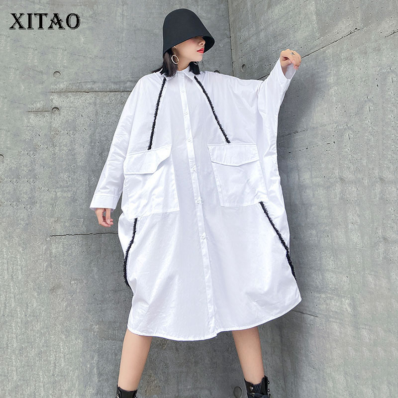 XITAO Europe Style Bat Sleeve Womens Tops And Blouses Fashion Plus Size Mid-length Shirt Personality Trend Women Clothes DMY3136