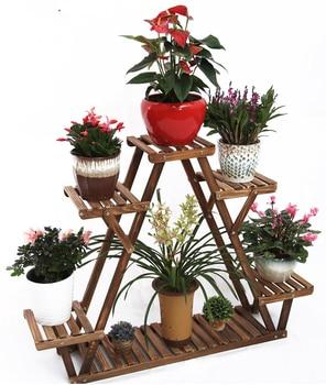 Household Wood Flower Stand Indoor Living Room Floor-standing Wooden Triangle Balcony Meaty Flower Pot Rack Special Space Saving