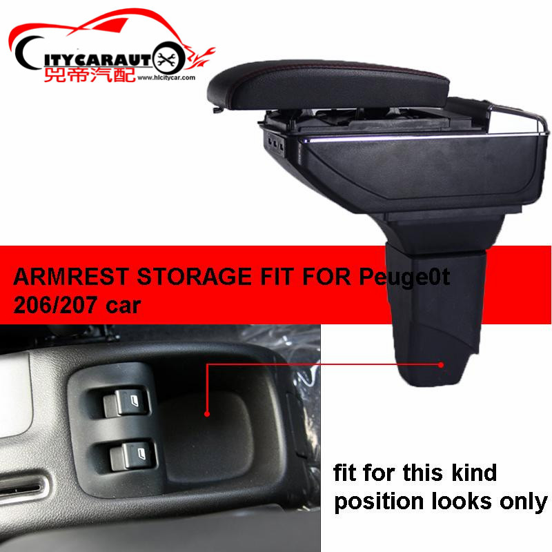 CITYCARAUTO  central armrest BIG SPACE+LUXURY+USB armrest box Storage box with cup holder LED USB FOR Peugeot 206/207 2005 13|armrest box|central armrest|usb armrest - title=