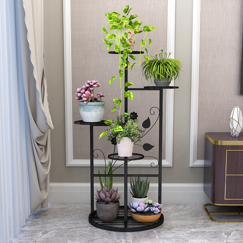 Simplicity Countryside Style Iron Art Flower Airs Landing Type Indoor A Living Room Balcony Flowerpot Frame Multi-storey White