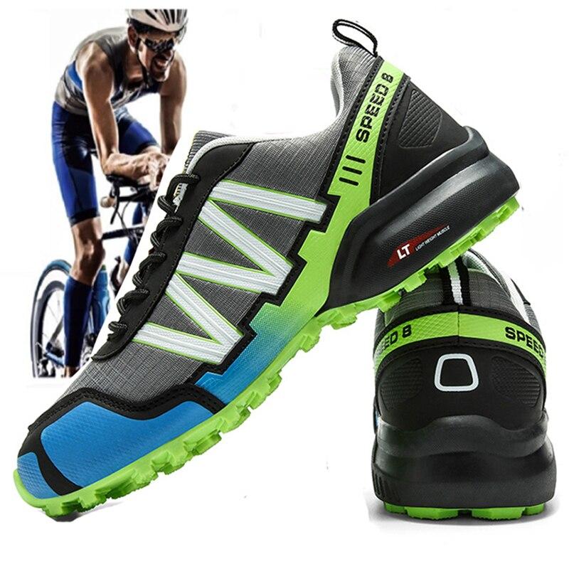 Повседневная велосипедная обувь без блокировки для мужчин и женщин, Мужская велосипедная обувь, сетчатая дышащая Спортивная велосипедная обувь с твердой подошвой без блокировки для дороги