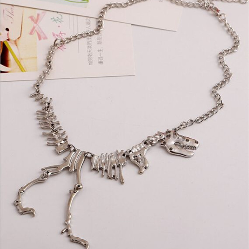 Timlee N135 Free shipping Grace Fashion Metal Dragon Skull Skeleton Dinosaur Bones Pendant Cool Necklaces Wholesale in Pendant Necklaces from Jewelry Accessories
