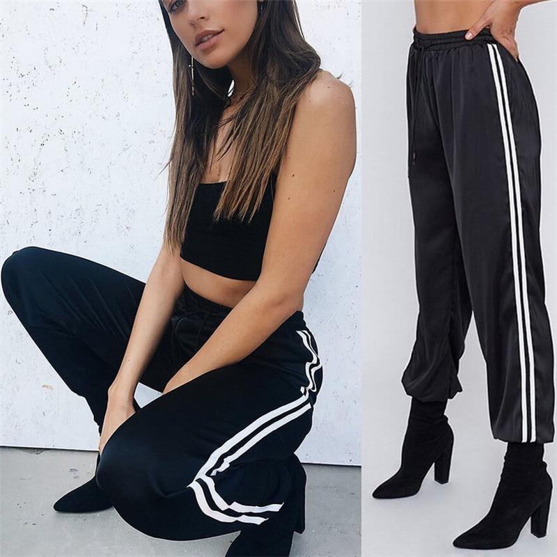 Fashion Women Joggers Trousers 2020 Casual Loose Side Striped Long Pants Sweatpants Trousers Leggings Sweat Wear Plus Size M-XL