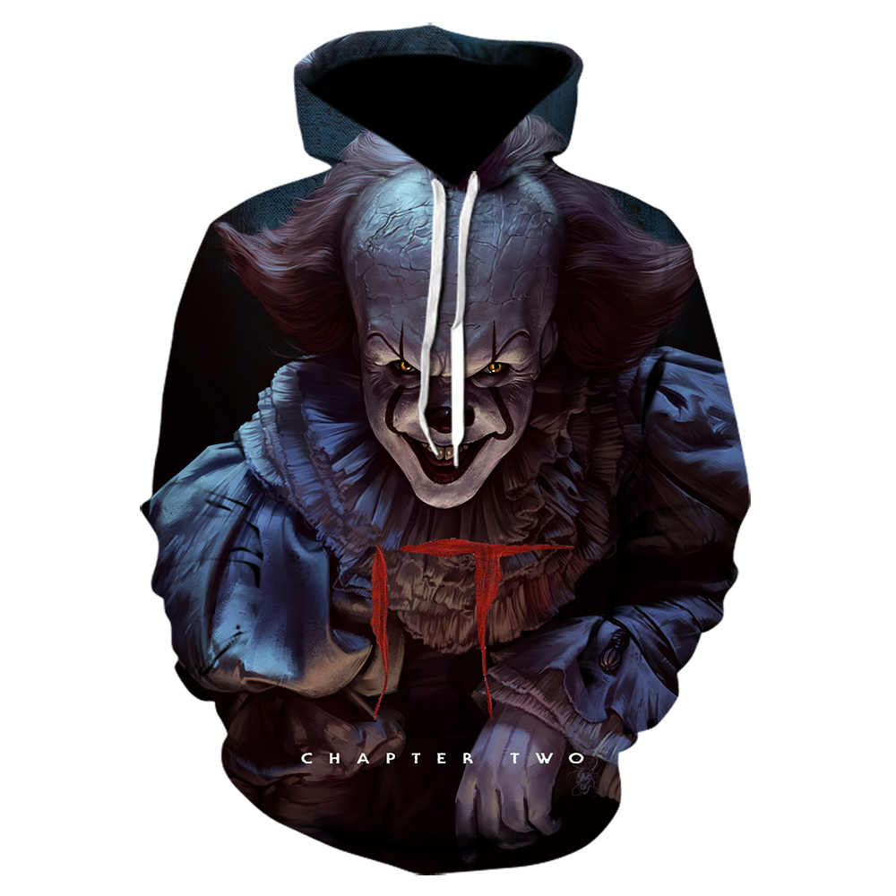 Stranger things horror movie IT clown 3Dprinting hoodie role playing funny shirt pullover Harajuku neutral jacket Joker hoodies