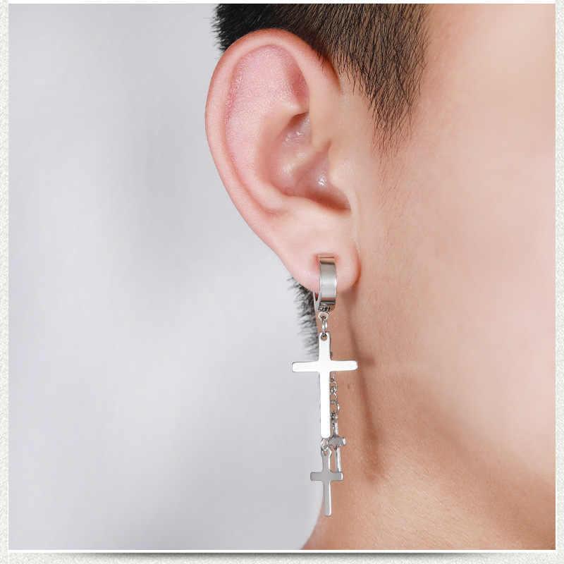 Punk Rock Titanium Steel No Ear Hole Earrings 3 Crosses Long Tassel Clip Earring Male Female Fashion Jewelry Black Silver Color Clip Earrings Aliexpress