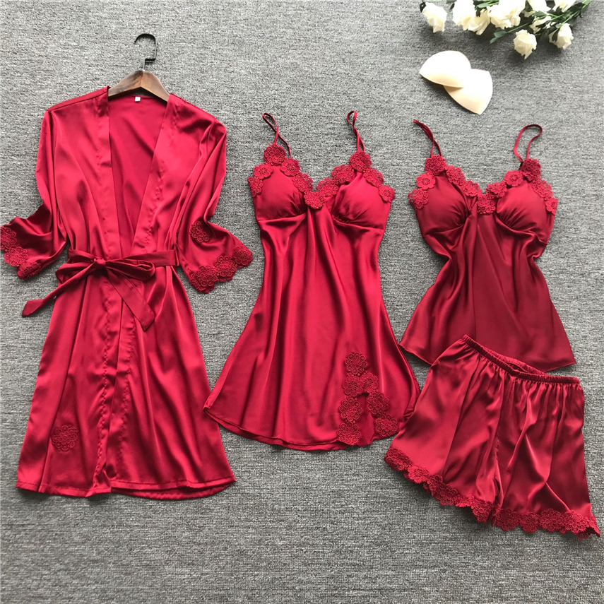 15Style Women Sleepwear Home Wear Lace Solid Long Sleeve Silk Embroidery Satin Clothing Sleeveless Nightwear Pajama Sets