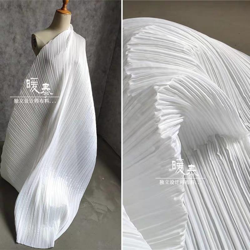 Stiff Pleated Fabric Super White Miyake Folds DIY Sewing Patchwork Art Painting Decor Clothes Pants Skirt Dress Designer Fabric