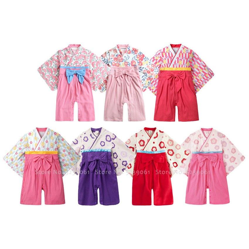 Детское кимоно в японском стиле Kawaii; хлопковый купальный халат Yukata Ao Dai; детская одежда для сна; пижамы для новорожденных; комбинезоны для ма...
