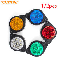 1/2x 7 LED Car Side Marker Signal Tail Light Brake Round Lamp Clearance 24V Auto Truck Trailer Lorry Red Yellow White Blue Green