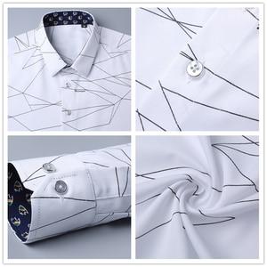 Image 5 - BROWON camisas de vestir de marca de lujo para hombre, camisa manga larga para hombre con estampado geométrico, camisa Social, blusa a la moda para hombre
