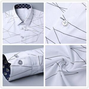 Image 5 - BROWON lüks marka erkek elbise gömlek erkekler gömlek uzun kollu geometrik baskı sosyal gömlek yakışıklı moda bluz adam için