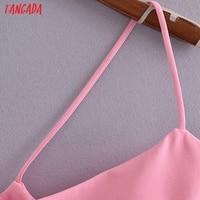 Tangada Women Solid Pink Mini Dress Strap Sleeveless 2021 Korean Fashion Lady Short Dresses Vestido 3H446 3