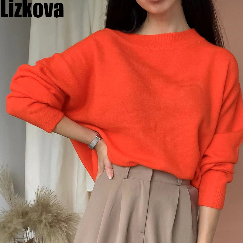 Fall Female Sweater Orange Red Knitted Sweater Woman Pullover Sweater O-neck Long Sleeve Sweater ST274