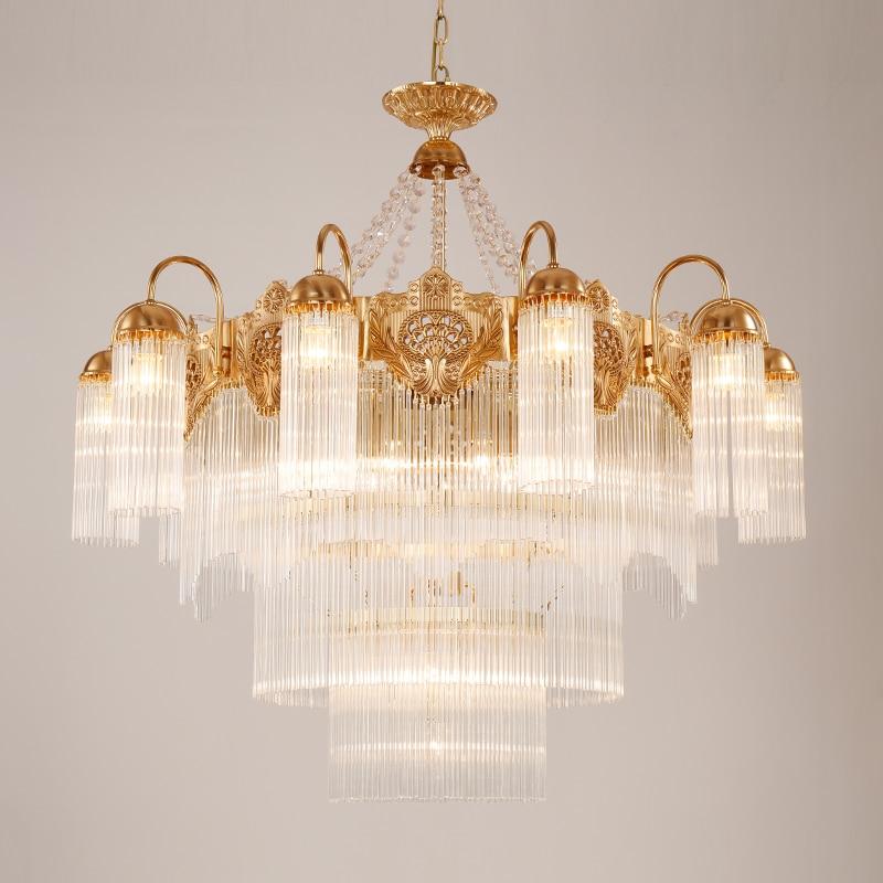 Купить большая светодиодная хрустальная люстра освещение медь современная