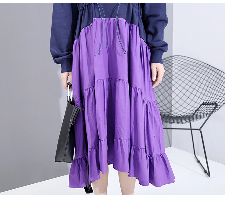New Fashion Style Patchwork A-Line Pleated Robe Dress Fashion Nova Clothing
