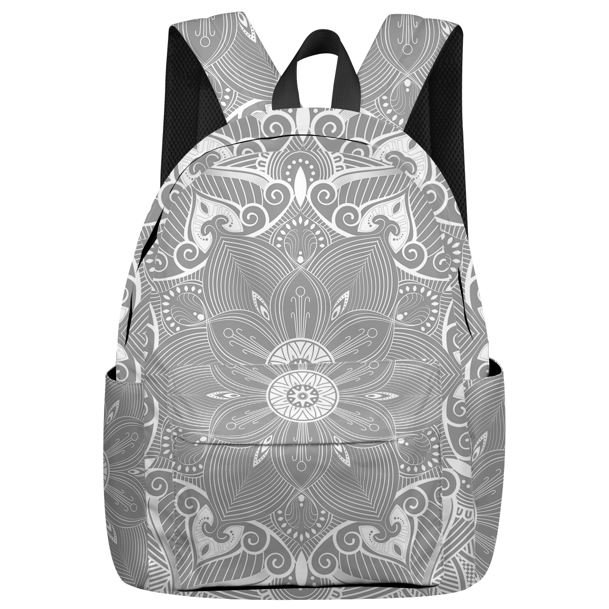Mandala Pattern George Washington's Birthday Elementary School Students Bottle Side Pockets Tactical Backpacks Shoes Compartment