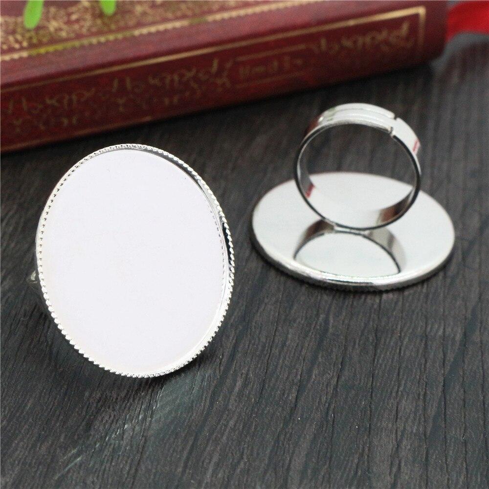30 мм 5 шт яркое посеребренное регулируемое латунное кольцо настройки пустая/основа, подходит для стеклянных кабошонов 30 мм, кнопок; Кольцевы...